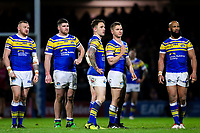 Picture by Alex Whitehead/SWpix.com - 08/03/2018 - Rugby League - Betfred Super League - Leeds Rhinos v Hull FC - Emerald Headingley Stadium, Leeds, England -(from left) Leeds' Brad Singleton, Mitch Garbutt, Richie Myler, Matt Parcell and Jamie Jones-Buchanan.