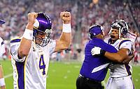Dec 6, 2009; Glendale, AZ, USA; Minnesota Vikings quarterback (4) Brett Favre celebrates a first quarter touchdown against the Arizona Cardinals at University of Phoenix Stadium. Mandatory Credit: Mark J. Rebilas-