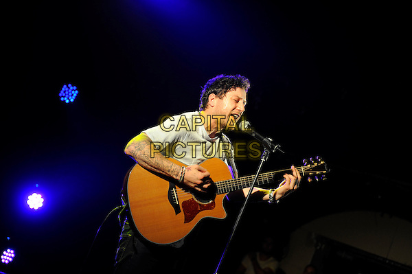 Matt Cardle <br /> performing at G-A-Y, Heaven Nightclub, London, England. <br /> 17th August 2013<br /> on stage in concert live gig performance performing music half length grey gray t-shirt singing profile tattoos<br /> CAP/MAR<br /> &copy; Martin Harris/Capital Pictures