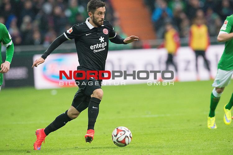 04.04.2015, Weser Stadion, Bremen, GER, 1.FBL. Werder Bremen vs 1. FSV Mainz 05, im Bild<br /> <br /> <br /> Yunus Malli (FSV Mainz 05 #11)<br /> Querformat,<br /> <br /> <br /> Foto &copy; nordphoto / Kokenge