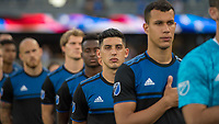 San Jose, CA - Tuesday June 11, 2019: Cristian Espinoza #10 during the National Anthem before the US Open Cup match between the San Jose Earthquakes and Sacramento Republic FC at Avaya Stadium.