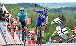 Julian Alaphilippe (FRA) Deceuninck-Quick Step wins the 83rd edition of La Fl&egrave;che Wallonne 2019 with Jakob Fuglsang (DEN) Astana Pro Team 2nd, running 195km from Ans to Huy, Belgium. 24th April 2019<br /> Picture: ASO/Gautier Demouveaux | Cyclefile<br /> All photos usage must carry mandatory copyright credit (&copy; Cyclefile | ASO/Gautier Demouveaux)