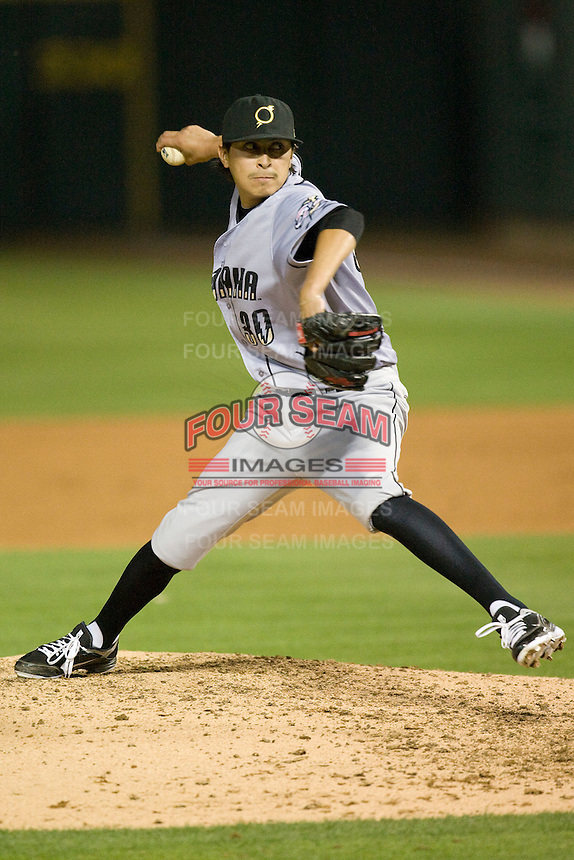 Omaha Storm Chaser pitcher Jesse Chavez delivers against the Round Rock Express in Pacific Coast League baseball on Monday April 11th, 2011 at Dell Diamond in Round Rock Texas.  (Photo by Andrew Woolley / Four Seam Images)
