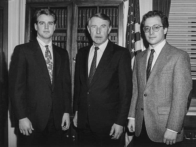Rep. Martin Olav Sabo, D-Minn., with new legislative correspondent John Woebre and outgoing legislative correspondent Erik Johnson. (Photo by CQ Roll Call via Getty Images)