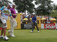 Andy Sullivan (ENG) eager to get off the tee and head down the 9th chasing Lee Westwood (ENG) during the Final Round of the 2014 Maybank Malaysian Open at the Kuala Lumpur Golf & Country Club, Kuala Lumpur, Malaysia. Picture:  David Lloyd / www.golffile.ie