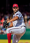 8 July 2017: Washington Nationals pitcher Tanner Roark on the mound against the Atlanta Braves at Nationals Park in Washington, DC. The Braves shut out the Nationals 13-0 to take the third game of their 4-game series. Mandatory Credit: Ed Wolfstein Photo *** RAW (NEF) Image File Available ***