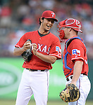 (L-R) Yu Darvish, Chris Gimenez (Rangers),<br /> JULY 9, 2014 - MLB :<br /> Pitcher Yu Darvish of the Texas Rangers talks with catcher Chris Gimenez during the Major League Baseball game against the Houston Astros at Globe Life Park in Arlington in Arlington, Texas, United States. (Photo by AFLO)