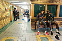 Pictured: Shaun McCoulsky and Frank Nouble pose for a picture (R) while another players receives physiotherapy treatment. Thursday 18 January 2018<br /> Re: Players and staff of Newport County Football Club prepare at Newport Stadium, for their FA Cup game against Tottenham Hotspur in Wales, UK