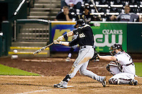 Kevin Plawecki (26) of the Purdue Boilermakers makes contact on a pitch during a game against the Missouri State Bears at Hammons Field on March 13, 2012 in Springfield, Missouri. (David Welker / Four Seam Images)
