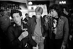 Peter Tatchell  electioneering south London. Lunch break in pub with campaign helpers.  1983. UK. Bermondsey by-election ..