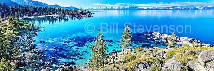 A panorama photo of Sand Harbor at Lake Tahoe.