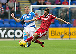 St Johnstone v Aberdeen&hellip;07.08.16  McDiarmid Park. SPFL<br />Graeme Shinnie tackles Steven MacLean<br />Picture by Graeme Hart.<br />Copyright Perthshire Picture Agency<br />Tel: 01738 623350  Mobile: 07990 594431