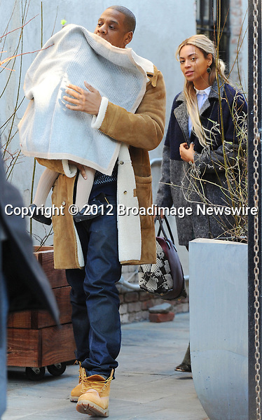 Pictured: Beyonce Knowles, Jay Z, Blue Ivy<br /> Mandatory Credit &copy; Jayme Oak/Broadimage<br /> Jay Z and wife Beyonce Knowles take their precious cargo baby Blue Ivy to lunch in a restaurant in Brooklyn in New York City<br /> <br /> 1/20/14, New York, New York, United States of America<br /> <br /> Broadimage Newswire<br /> Los Angeles 1+  (310) 301-1027<br /> New York      1+  (646) 827-9134<br /> sales@broadimage.com<br /> http://www.broadimage.com<br /> <br /> <br /> Pictured: Beyonce Knowles, Jay Z, Blue Ivy<br /> Mandatory Credit &copy; Jayme Oak/Broadimage<br /> Jay Z and wife Beyonce Knowles take their precious cargo baby Blue Ivy to lunch in a restaurant in Brooklyn in New York City<br /> <br /> 1/20/14, New York, New York, United States of America<br /> Reference: 011914_JKNY_BDG_011<br /> <br /> Broadimage Newswire<br /> Los Angeles 1+  (310) 301-1027<br /> New York      1+  (646) 827-9134<br /> sales@broadimage.com<br /> http://www.broadimage.com