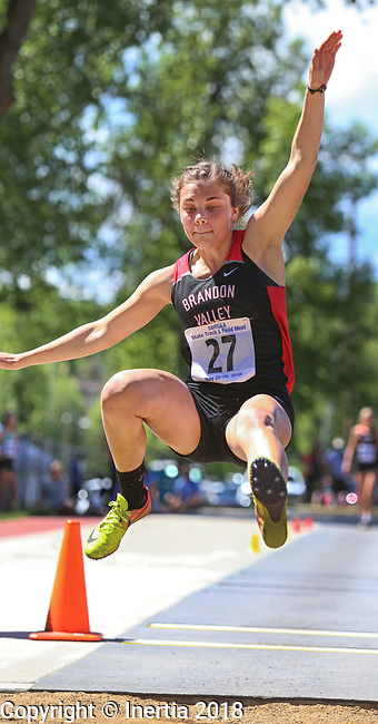 STURGIS, SD: MAY 25:  Mikaela Birath of Brandon Valley in the long jump during the 2018 South Dakota State High School Track Meet at Woodle Field in Sturgis, S.D.  (Photo by Dick Carlson/Inertia)