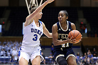 DURHAM, NC - JANUARY 26: Kierra Fletcher #41 of Georgia Tech is defended by Miela Goodchild #3 of Duke University during a game between Georgia Tech and Duke at Cameron Indoor Stadium on January 26, 2020 in Durham, North Carolina.
