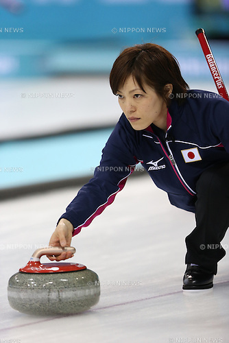 Ayumi Ogasawara (JPN), <br /> FEBRUARY 13, 2014 - Curling : Women's Curling Round Robin match between USA - Japan at &quot;ICE CUBE&quot; Curling Center during the Sochi 2014 Olympic Winter Games in Sochi, Russia.  <br /> (Photo by Koji Aoki/AFLO SPORT)