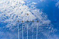March 26, 2017: Aerobatic planes fly over the straight at the 2017 Australian Formula One Grand Prix at Albert Park, Melbourne, Australia. Photo Sydney Low
