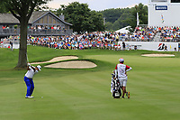 Hideki Matsuyama (JPN) plays into the 18th green during Sunday's Final Round of the WGC Bridgestone Invitational 2017 held at Firestone Country Club, Akron, USA. 6th August 2017.<br /> Picture: Eoin Clarke | Golffile<br /> <br /> <br /> All photos usage must carry mandatory copyright credit (&copy; Golffile | Eoin Clarke)
