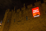 Marking 50 days to go to the Commonwealth Games Cardiff Castle is lit up with the Team Wales flag.<br /> 23.06.14<br /> &copy;Steve Pope-SPORTINGWALES