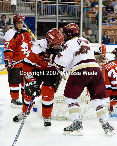Shawn Fensel (St. Lawrence - Nepean, ON), Drew Bagnall (St. Lawrence - Oakbank, Manitoba), Nathan Gerbe (Boston College - Oxford, MI) - The Boston College Eagles defeated the St. Lawrence University Saints 4-1 on Saturday, March 24, 2007, in their semi-final matchup in the Northeast Regional at the Verizon Wireless Arena in Manchester, NH.