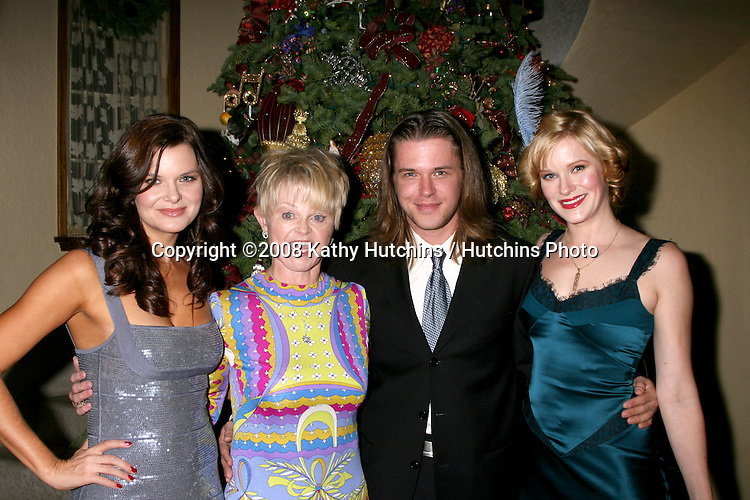***EXCLUSIVE***.Heather Tom, mother Marie Tom, Brother David Tom, and sister Nicholle Tom  at Heather Tom's Annual Christmas Party at her home in Glendale, CA on December 13, 2008.©2008 Kathy Hutchins / Hutchins Photo..EXCLUSIVE..                .