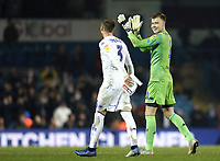 Leeds United's Bailey Peacock-Farrell in high spirits as he celebrates the win with team-mate Barry Douglas at the final whistle<br /> <br /> Photographer Rich Linley/CameraSport<br /> <br /> The EFL Sky Bet Championship - Leeds United v Reading - Tuesday 27th November 2018 - Elland Road - Leeds<br /> <br /> World Copyright &copy; 2018 CameraSport. All rights reserved. 43 Linden Ave. Countesthorpe. Leicester. England. LE8 5PG - Tel: +44 (0) 116 277 4147 - admin@camerasport.com - www.camerasport.com