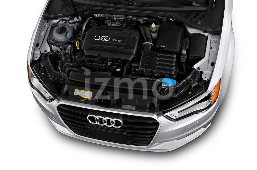 High angle engine detail of a 2015 Audi A3 2.0 T DSG 4 Door Sedan