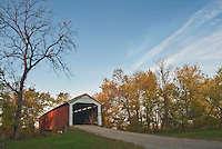 McAllisters Covered Bridge sits in late afternoon light in Parke County, Indiana