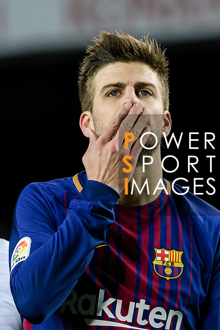 Gerard Pique Bernabeu of FC Barcelona reacts during the Copa Del Rey 2017-18 match between FC Barcelona and Valencia CF at Camp Nou Stadium on 01 February 2018 in Barcelona, Spain. Photo by Vicens Gimenez / Power Sport Images