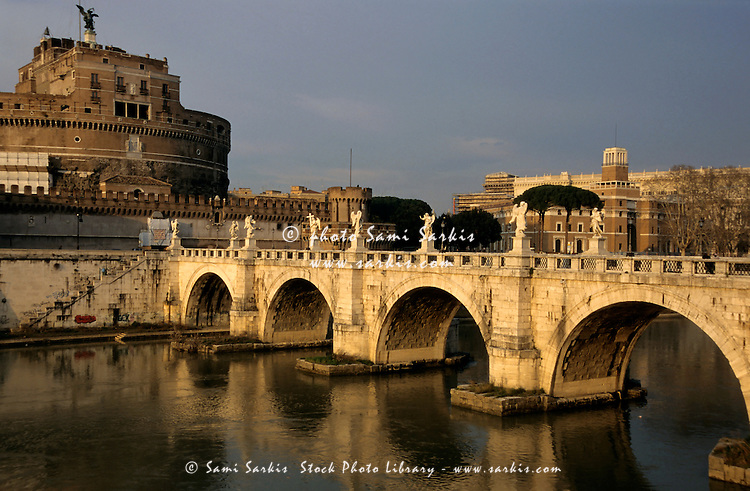 Ponte Sant-Angelo bridge at sunset with the Castel Sant'Angelo in the background, Rome, Italy.