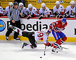 11 November 2008:  Montreal Canadiens' right wing forward Alexei Kovalev from Russia keeps ahead of Ottawa Senators' center Jason Spezza (19) at the Bell Centre in Montreal, Quebec, Canada. The Canadiens, celebrating their 100th season, defeated the visiting Senators 4-0. ***Editorial Sales Only***..Mandatory Photo Credit: Ed Wolfstein Photo *** Editorial Sales through Icon Sports Media *** www.iconsportsmedia.com