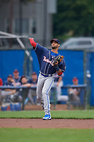 New Hampshire Fisher Cats shortstop Lourdes Gurriel Jr. (16) throws to first base during a game against the Trenton Thunder on August 19, 2018 at ARM & HAMMER Park in Trenton, New Jersey.  New Hampshire defeated Trenton 12-1.  (Mike Janes/Four Seam Images)