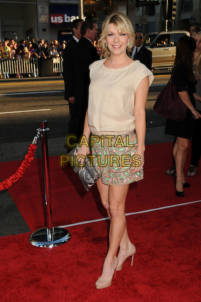 "MARY ELIZABETH ELLIS .""Going The Distance"" Los Angeles Premiere held at Grauman's Chinese Theatre, Hollywood, California, USA, 23rd August 2010..full length beige top green patterned skirt nude peep toe shoes clutch bag .CAP/ADM/BP.©Byron Purvis/AdMedia/Capital Pictures."