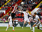 James Hanson of Sheffield Utd directs a header towards goal during the Carabao Cup First Round match at Bramall Lane Stadium, Sheffield. Picture date: August 9th 2017. Pic credit should read: Simon Bellis/Sportimage