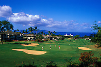 Golfers playing at the Wailea Blue Course on Maui