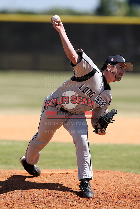 March 15, 2010:  Pitcher Dan Iglesias (19) of the Long Island University Blackbirds vs. UMBC at Lake Myrtle Park in Auburndale, FL.  Photo By Mike Janes/Four Seam Images