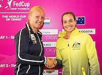 April 17, 2015, Netherlands, Den Bosch, Fedcup Netherlands-Australia,  Draw, Cityhall, first round match: Kiki Bertens (NED) (L) vs Jarmila Gajdosova<br /> Photo: Tennisimages/Henk Koster