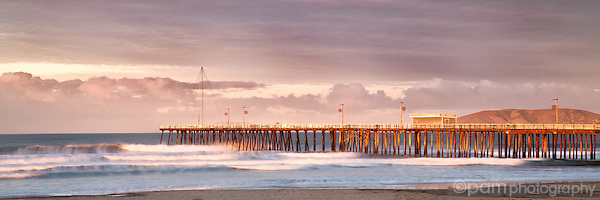 Panoramic of Pismo Beach Pier at sunrise