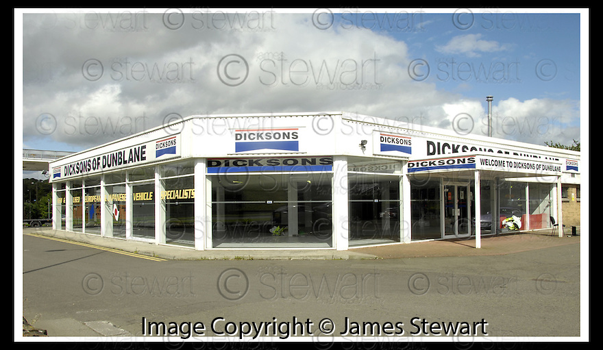 16/08/2007       Copyright Pic: James Stewart.File Name : sct_jspa01_dicksons.THE FORMER DICKSON'S OF DUNBLANE CAR GARAGE.....James Stewart Photo Agency 19 Carronlea Drive, Falkirk. FK2 8DN      Vat Reg No. 607 6932 25.Office     : +44 (0)1324 570906     .Mobile   : +44 (0)7721 416997.Fax         : +44 (0)1324 570906.E-mail  :  jim@jspa.co.uk.If you require further information then contact Jim Stewart on any of the numbers above........