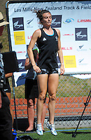 Nikki Hamblin warms up for the senior women's 1500m final on day three of the 2015 National Track and Field Championships at Newtown Park, Wellington, New Zealand on Sunday, 8 March 2015. Photo: Dave Lintott / lintottphoto.co.nz
