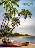 Malenda, LANDSCAPES, paintings, island boat 2(USMT69,#L#) Landschaften, Schiffe, paisajes, barcos, llustrations, pinturas