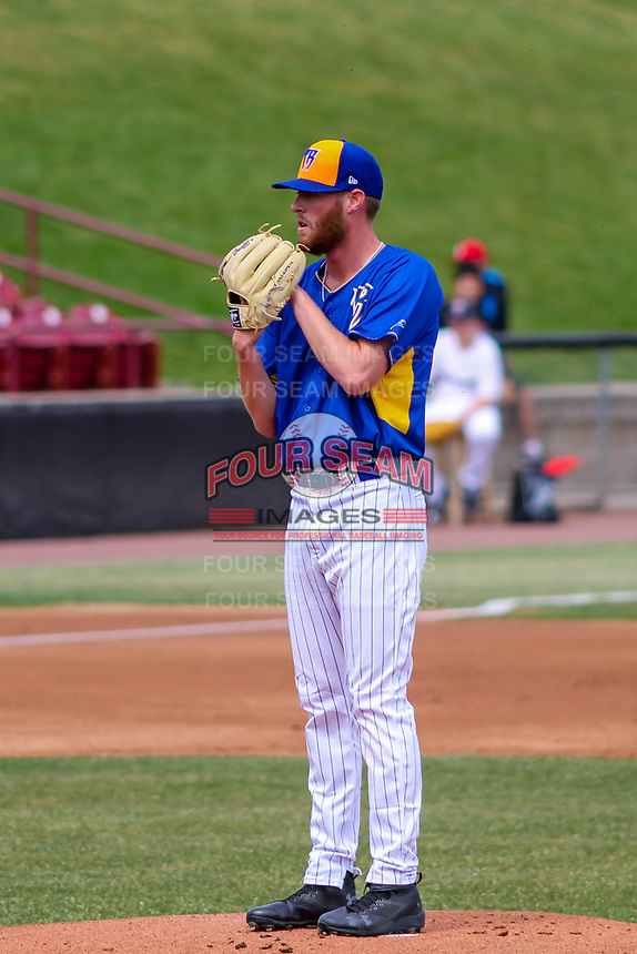 Wisconsin Timber Rattlers pitcher Cameron Roegner (35) on the mound during a Midwest League game against the Quad Cities River Bandits on April 9, 2017 at Fox Cities Stadium in Appleton, Wisconsin.  Quad Cities defeated Wisconsin 17-11. (Brad Krause/Four Seam Images)
