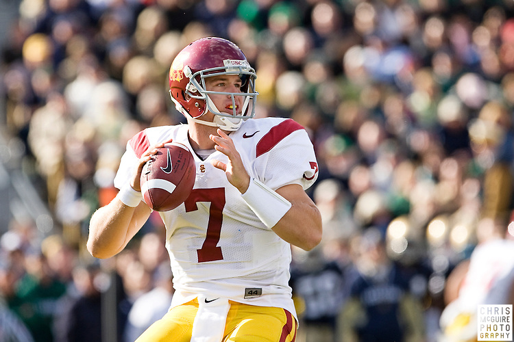 10/17/09 - South Bend, IN:  USC quarterback Matt Barkley looks for a receiver during the first possession of their game against Notre Dame at Notre Dame Stadium on Saturday.  USC won the game 34-27 to extend its win streak over Notre Dame to 8 games.  Photo by Christopher McGuire.