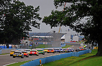 Aug. 8, 2009; Watkins Glen, NY, USA; NASCAR Nationwide Series drivers race down the straight towards turn ten during the Zippo 200 at Watkins Glen International. Mandatory Credit: Mark J. Rebilas-