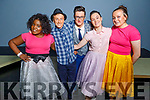 Hannah Aladesanusi, Daragh O'Shea, Dominick Hurley, Mairead McCarthy and Lauren Nolan back stage in Siamsa Tire at the Mercy Mounthawk production of Hairspray on Saturday