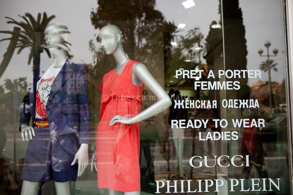 Russian language window sign at Jean-Charles boutique, Avenue de Verdun, Nice, France, 28 April 2012
