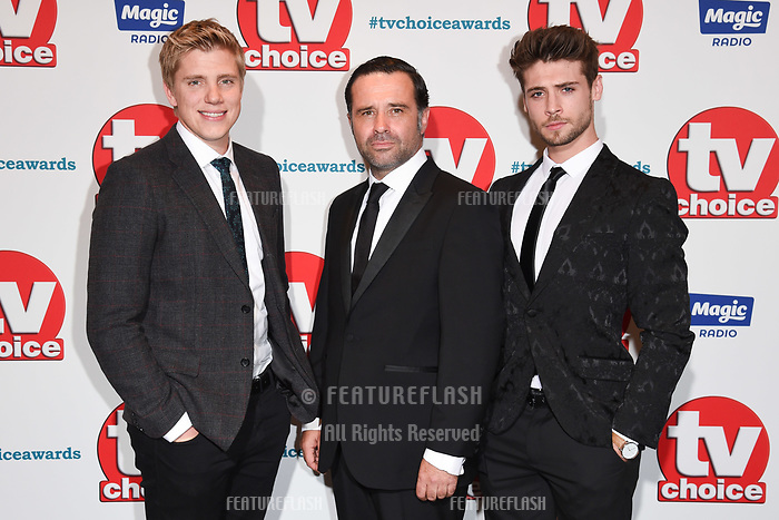 LONDON, UK. September 10, 2018: Ryan Hawley, Andrew Scarborough & Ned Porteous at the TV Choice Awards 2018 at the Dorchester Hotel, London.<br /> Picture: Steve Vas/Featureflash