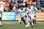 08 March 2015: E-Land's Kim Min-Je (KOR) (2) is chased by Carolina's Connor Tobin (right). The Carolina RailHawks of the North American Soccer League played Seoul E-Land FC of the K-League Challenge at WakeMed Stadium in Cary, North Carolina in a 2015 preseason friendly for both clubs. The game ended in a 0-0 tie. Afterwards, Seoul E-Land won a penalty kick shootout 5-4.