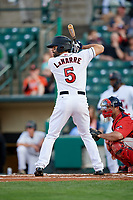 Rochester Red Wings center fielder Ryan LaMarre (5) at bat in front of catcher Dan Butler (12) during a game against the Pawtucket Red Sox on May 19, 2018 at Frontier Field in Rochester, New York.  Rochester defeated Pawtucket 2-1.  (Mike Janes/Four Seam Images)