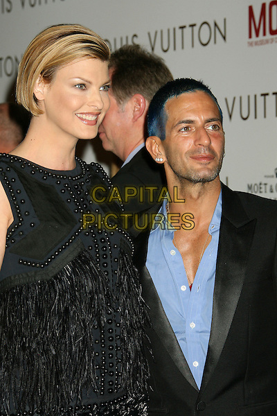 LINDA EVANGELISTA & MARC JACOBS.At the Louis Vuitton Gala Celebrating Murakami Exhibition held at the Geffen Contemporary at Moca, Los Angeles, California, USA, 28 October 2007..half length dyed blue hair black dress feathered.CAP/ADM/RE.©Russ Elliot/AdMedia/Capital Pictures.